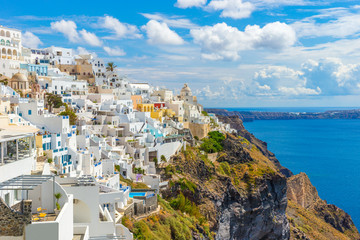 Obraz Santorini wyspa, Fira, Cyklady, Grecja - fototapety do salonu