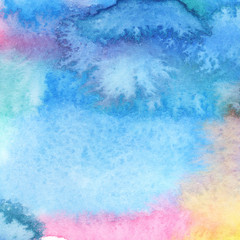 Abstract colorful watercolor background on paper