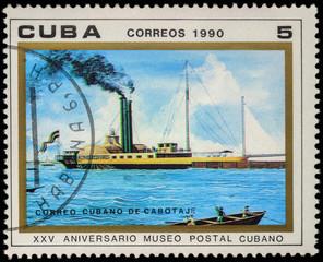 """Old paddle steamer """"Almendares"""" on postage stamp"""
