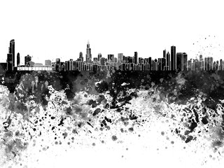 Chicago skyline in black watercolor