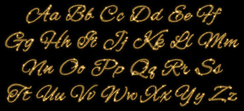 Gold glittering alphabet of stars dust trail