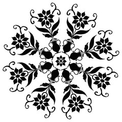 black and white pattern leaf flower tattoo