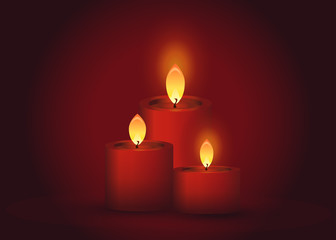 spa candles on a red background