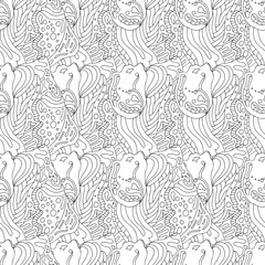 black and white abstract seamless pattern in zentangle style, handmade