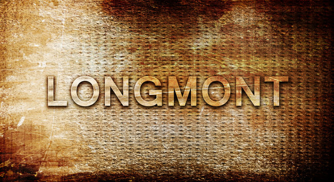 longmont, 3D rendering, text on a metal background