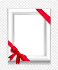 White photo frame vector isolated with red ribbon and bow