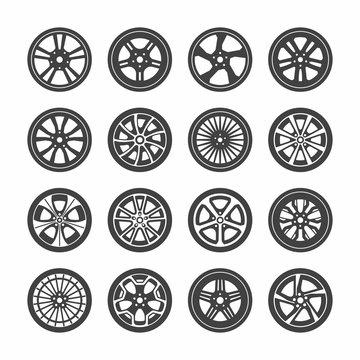 Wheels icons set