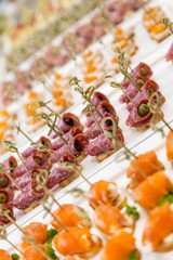 closeup canapes and snacks for catering