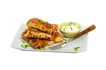 Traditional Russian Fried Stuffed Pancakes Isolated on White. Selective focus.