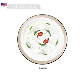 Laksam or Malaysian Wide Rice Noodle Soup