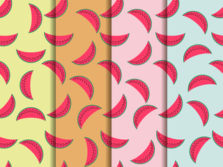 Watermelon seamless pattern, watermelon slice. Vector illustration. Set.