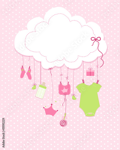 Baby arrival greeting card baby shower invitation newborn baby girl baby arrival greeting card baby shower invitation newborn baby girl illustration m4hsunfo