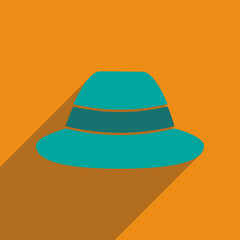 Flat icon with long shadow hat hipster