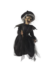 view of a witch on her broomstick.