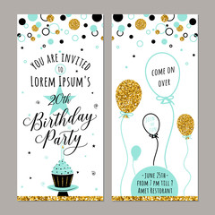 Vector illustration of birthday invitation. Face and back sides. Party background with cupcake, ballon, gold sparkles. Golden elements poster. Vertical banner