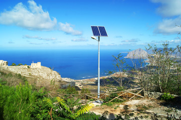 Solar panels on the mountain in Erice, Sicily.