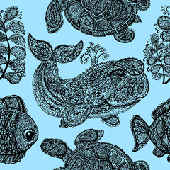 Sea turtle, whale, water plant and fish in paisley style.