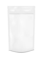 White empty plastic packaging with zipper. Blank foil or plastic