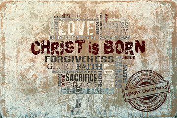 Christ is born Christmas background