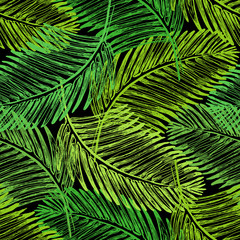 Palm leaves illustration. Tropical jungle plant. Vector wallpaper seamless textile pattern. Retro vintage style. Green color.