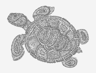 Sea turtle illustration in paisley mehndi style. The tortoise reptile animal. Tattoo style tortoise-shell. Turtle in doodle style. Gray color.