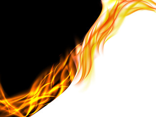 Abstract black and white background with flames on the dividing line , vector illustration