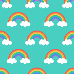 Flat design, cartoon rainbow seamless pattern background.