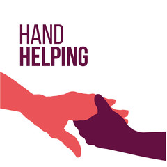Helping Hands, colorful vector on white backdrop