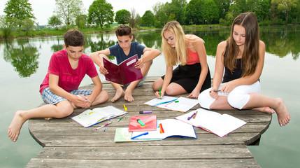 Jugendliche lernen gemeinsam draußen am See