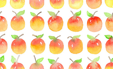 Seamless pattern with watercolor apples.