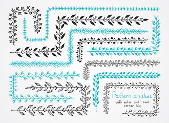 Vector set of floral hand drawn pattern brushes with outer and inner corner tiles. Brushes are included in EPS.