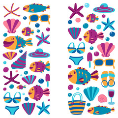 Vector flat hand drawn icons Beach and tropical vacation