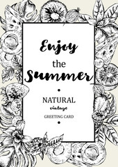 Tropical Summer Exotic Menu Fruits Card