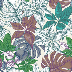 Vintage Seamless Exotic Background with Tropical Leaves
