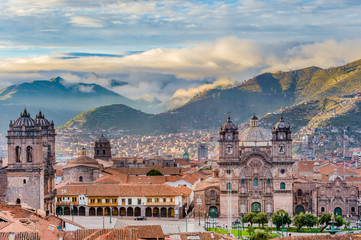 Zelfklevend Fotobehang Zuid-Amerika land Morning sun rising at Plaza de armas, Cusco, City