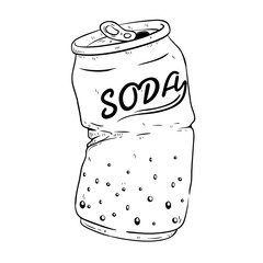 Black And White Broken Soda Can With Doodle Or Sketchy Style