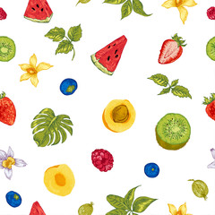 Healthy Food Eco Seamless Background