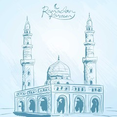 Ramadan Background vector mosque sketch