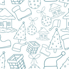 Cute Seamless Pattern Of Christmas Icons Or Elements With White Background