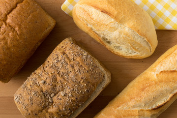 Whole wheat bread and French baguette