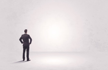 Finance worker standing in pure nothing
