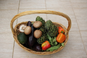 в корзине лежат овощи