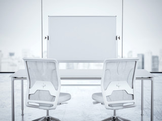Two white chairs and whiteboard in office interior. 3d rendering