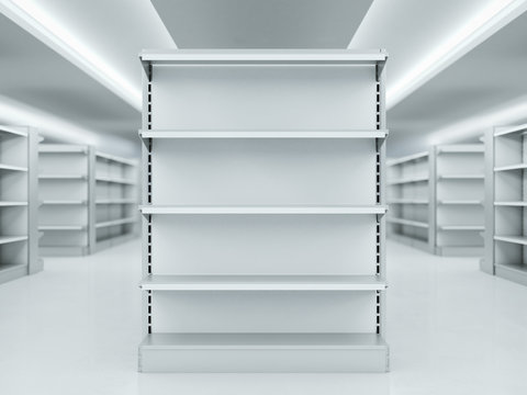 Metal clean shelves in market. 3d rendering