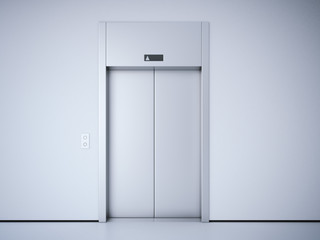 Modern elevator with metal  doors. 3d rendering
