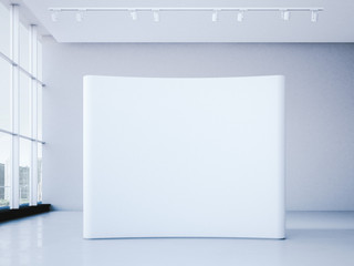 White blank trade show booth in office  interior. 3d rendering