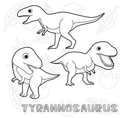 Dinosaur Tyrannosaurus Cartoon Vector Illustration Monochrome