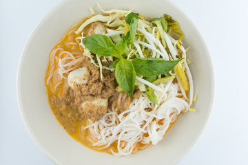 Rice vermicelli with curry and vegetable.