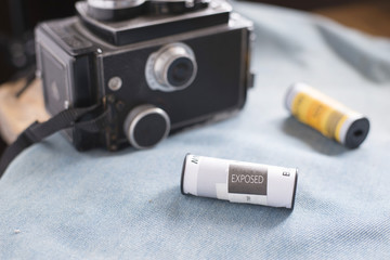 black and white film exposed  and vintage camera