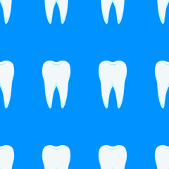 seamless pattern on which are depicted repetitive white teeth on a blue background